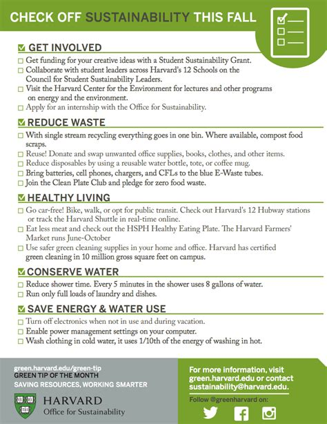 Harvard Mba Application Checklist by Welcome Back Sustainability Checklist Sustainability At