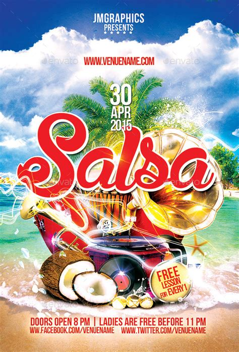 salsa flyer print template by ju maj graphicriver