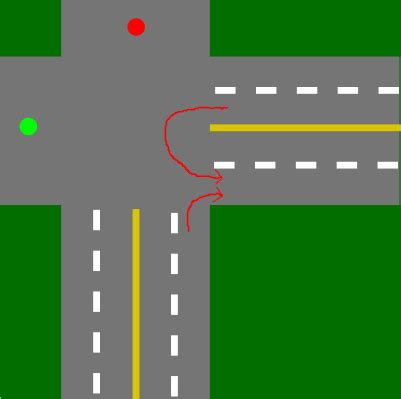 light right turn canada right of way between u turning and right turning