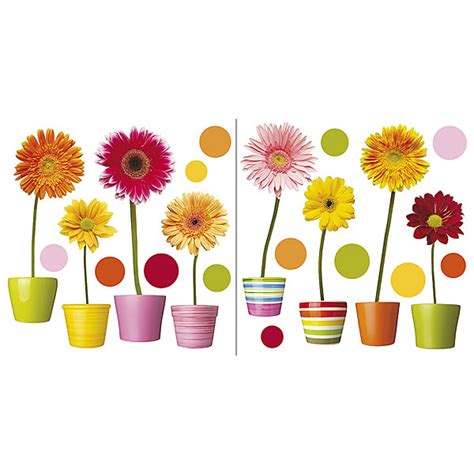 Peel And Stick Kitchen Backsplash Tiles Gerberas Flowers Self Adhesive Window Decals