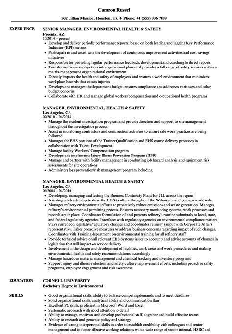 Manager, Environmental Health & Safety Resume Samples   Velvet Jobs