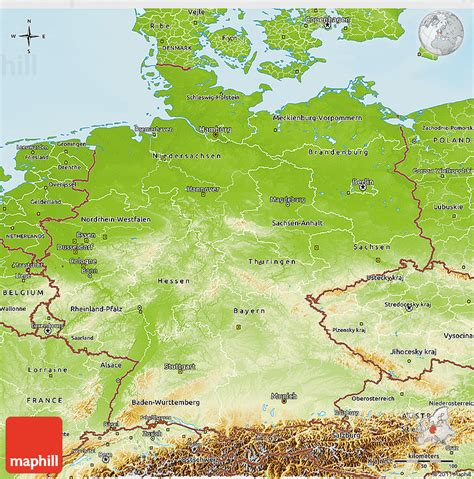 german physical map physical 3d map of germany