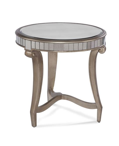 Kitchen Carts Islands celine round end table real silver leaf amp antique mirror