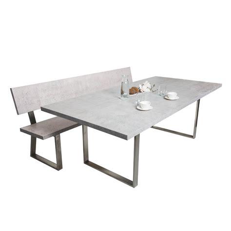 tisch mit sitzbank sitzbank mit lehne in betonoptik aus holz