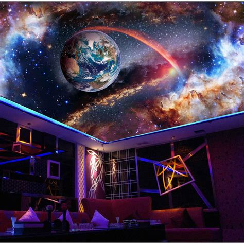 universe outer space  ceiling wallpaper murals  walls