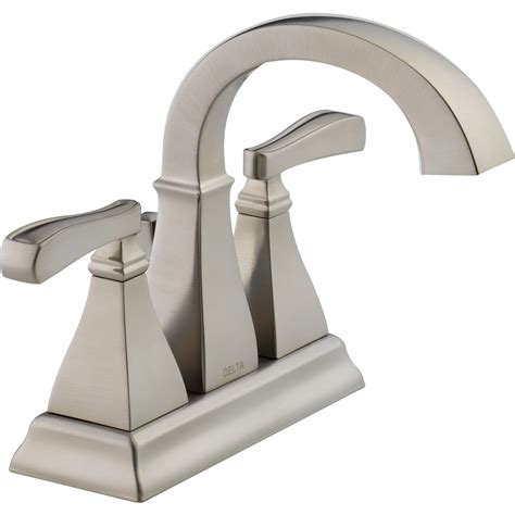 delta faucets bathroom sink shop delta olmsted spotshield brushed nickel 2 handle 4 in