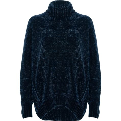 mens oversized knitted jumper navy chenille knit oversized roll neck jumper jumpers