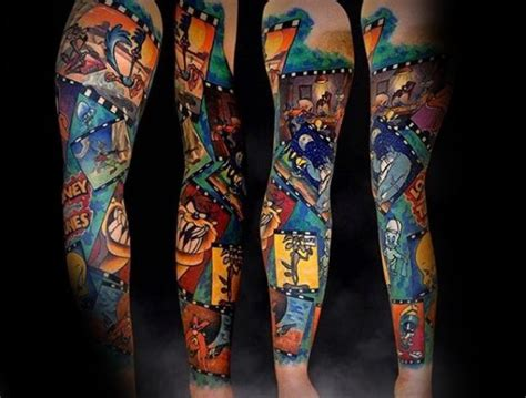 cartoon themed tattoo sleeve 60 looney tunes tattoos for men animated cartoon ink ideas