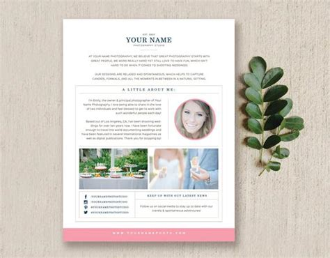 Photography Newsletter Template Email Template About Me Etsy Wedding Photography Email Templates