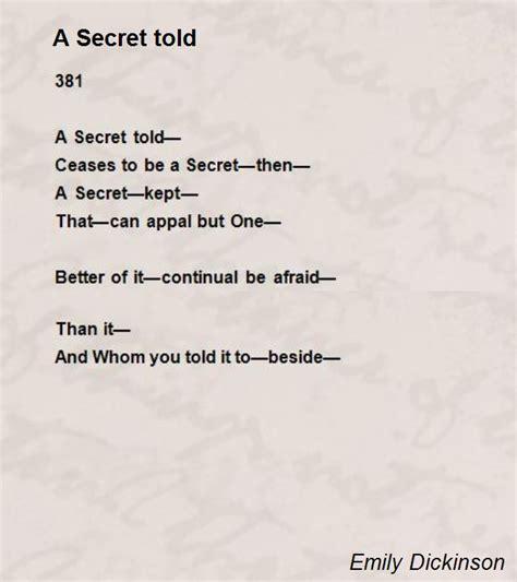 secret poems a secret told poem by emily dickinson poem comments