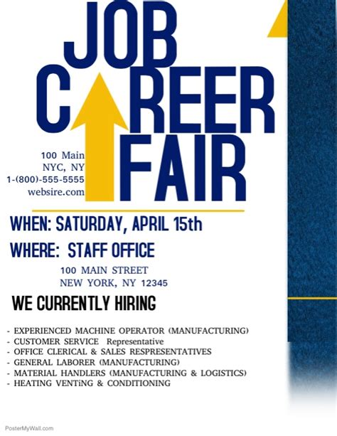 Job Career Fair Template Postermywall Career Fair Template
