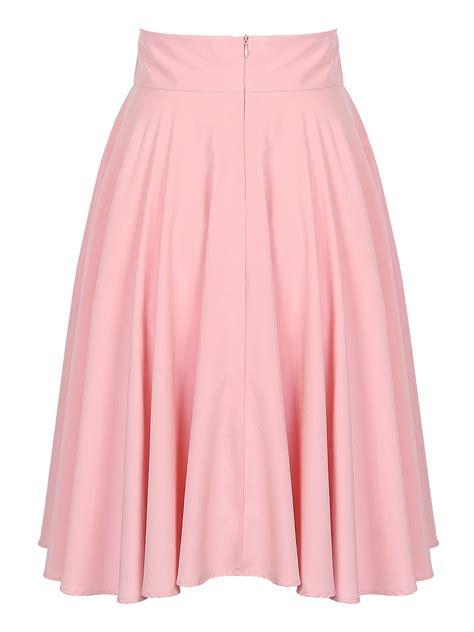 pink high waist midi skater skirt withchic