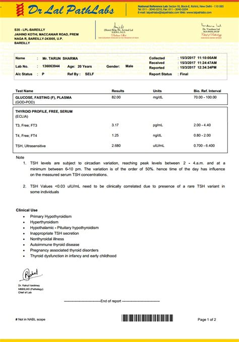 Blood Test Report Format