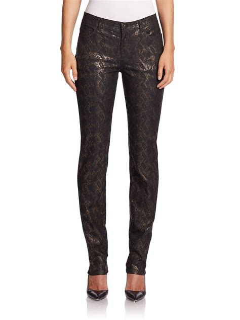 new pattern of jeans lyst lafayette 148 new york reptile pattern metallic