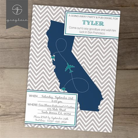 Going Away Party Invitations Invites Single State By Greylein Going Away Invitation Template Free