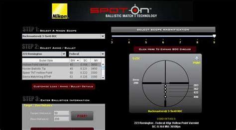 tavole balistiche il programma nikon per calcolare la caduta armi e tiro