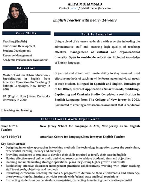 format cv for teachers teaching abroad resume resume ideas