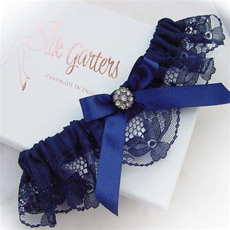 Wedding Garter by Navy Blue Wedding Garter With Diamante