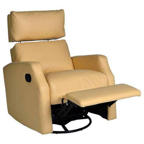 Yellow Leather Recliner Lensey Swivel Rocker Recliner With Adjustable Headrest Pale Yellow Le