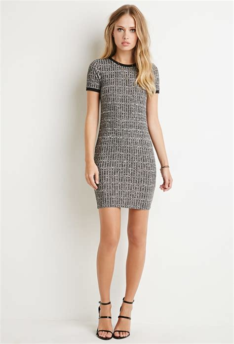 ribbed knit dress forever 21 ribbed knit marled dress in gray charcoal lyst
