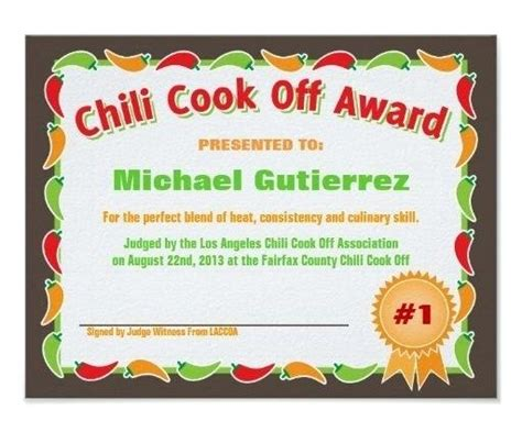 chili cook award certificate template chili cook flyer free award template traguspiercing info