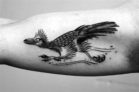 roadrunner tattoo line tattoos in a vintage illustration style by a b m