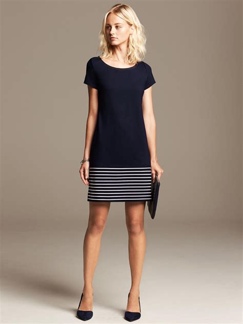 Banana Dress banana republic stripe hem ponte dress preppy navy in