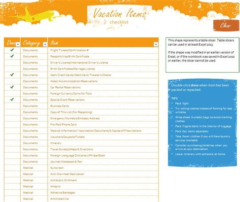 travel checklist template search results for vacation planner printable calendar