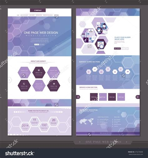 Stock Vector Abstract One Page Website Template Design With Hexagon Elements In Purple 273276008 Hexagon Website Template