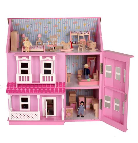dolls house beautiful mamakiddies pink wooden dolls doll house free furniture ebay