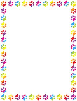 Paw Print Page Border Clip by Rainbow Paw Print Border Teaching Ideas