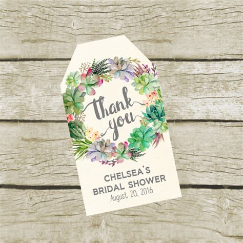 printable wedding shower gift tags succulent favor tags printable custom bridal shower thank you