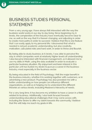 look at the great business school personal statement sle