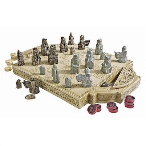 designer chess sets isle of lewis chess set and board pd0685 design toscano