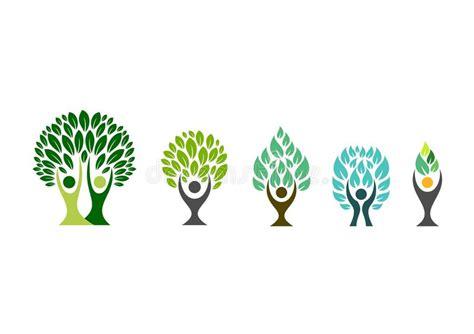People Tree Logo Wellness Symbol Fitness Healthy Icon Set Design Vector Stock Vector Image Tree Logo Setpeople Logo Setfamily