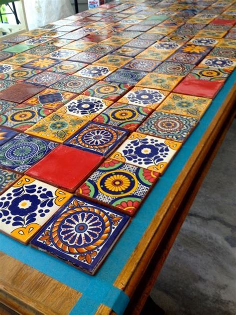 how to a tile table top tiled table azulejos mexicans