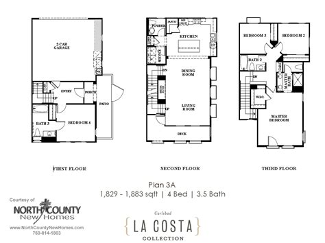 la costa collection floor plans plan 1a north county la costa collection floor plan 3a north county new homes