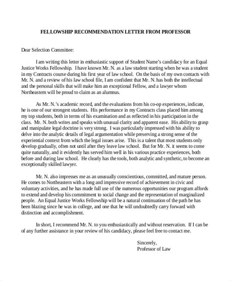 Letter Of Recommendation Research Fellowship Sle Recommendation Letter 9 Exles In Word Pdf