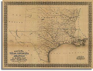 map of texas and arkansas caign map of texas louisiana and arkansas 1871