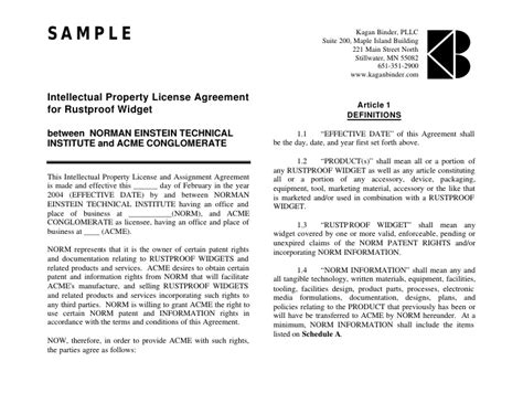Intellectual Property Licence Agreement Template 18 license agreement