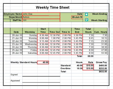 excel timesheet template timesheet templates excel 1 2 4 week versions tool