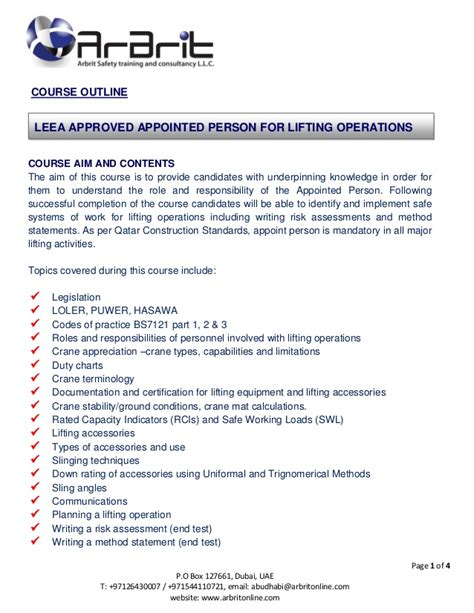 Leea Appointed Person In Lifting Operations Accreditation Training Lifting Plan Template Uk