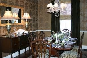 dining room in gold wallpaper from thibaut traditional