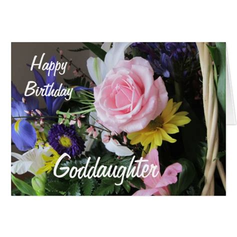 Happy Birthday Wishes For A Goddaughter Happy Birthday Goddaughter Pink Rose Bouquet Card Zazzle