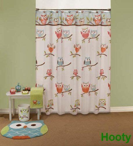 hooty owl bathroom set hooty owl shower curtain hooks by saturday knight ltd