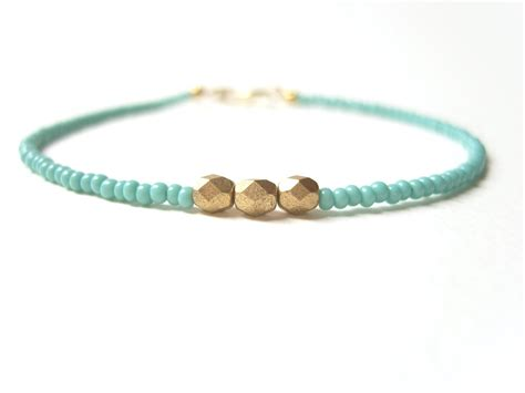 bead bracelet beaded friendship bracelet turquoise bead bracelet gold