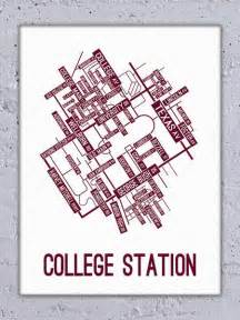 College station texas street map canvas school street posters