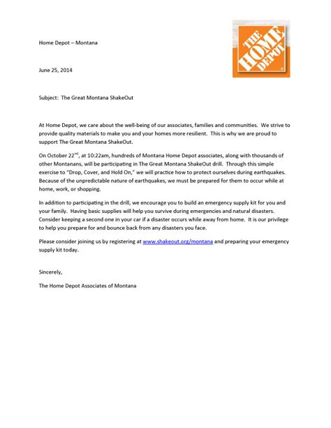 cover letter for home depot the great montana shakeout sponsors organizers