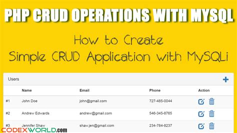 tutorial php oop crud php crud operations with mysqli extension codexworld