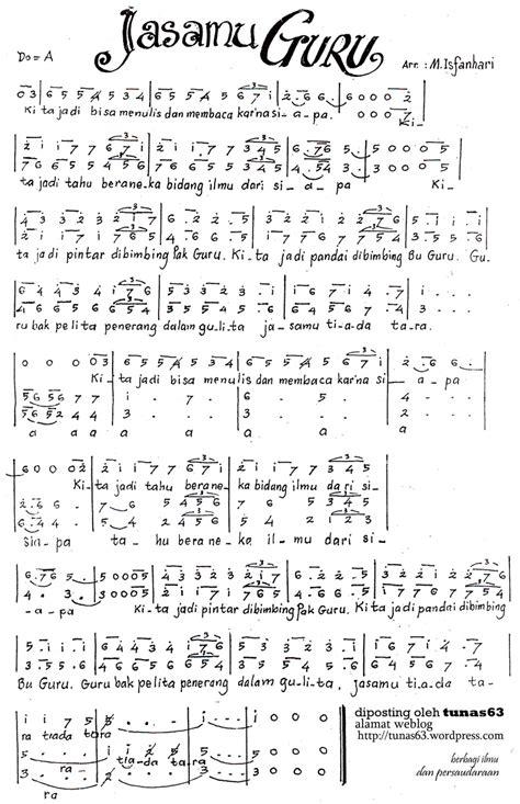 lagu terima kasih guruku lirik acord partitur paduan suara lagu jasamu guru isfanhari tunas63